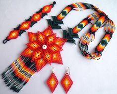 Conjunto mexicana Huichol flor de collar, pulsera y pendientes
