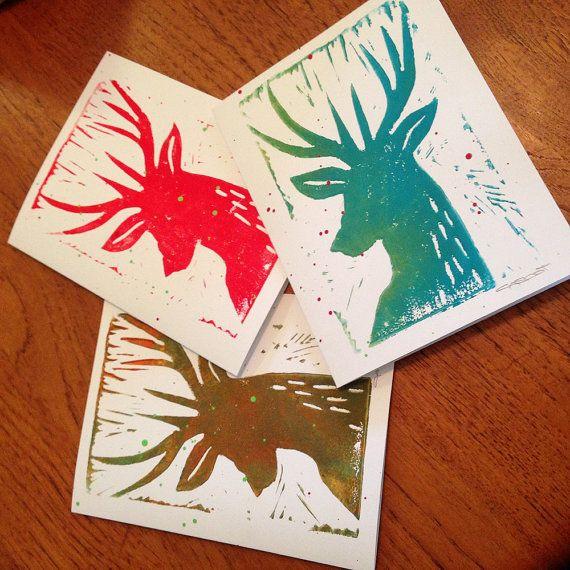 Christmas Holiday Deer Linocut Original Card 3 Pack by Latinpop More