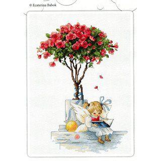 Stickpackung Stickbild Kleine Fee unterm Rosenbaum, gezählter Kreuzstich