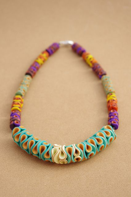 Polymer Clay Necklace Coralia by Carina's Photos and Polymer Clay, via Flickr