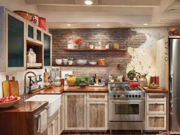 philadelphia_kitchen_boho. yes to the farm sink and exposed brick. different cabinets.