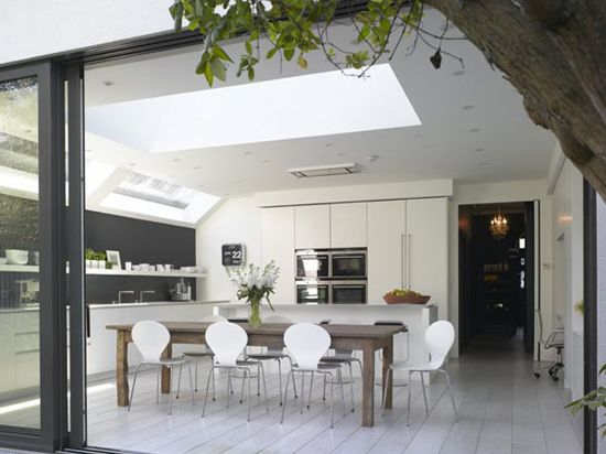 White modern kitchen extension