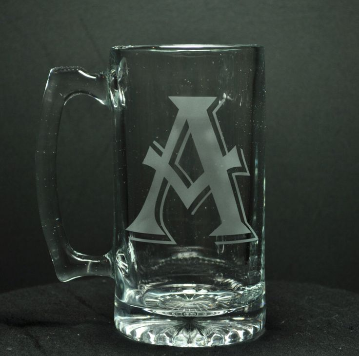 initial glass beer mug etched beer glass beer mugs custom beer glasses - Glass Beer Mugs