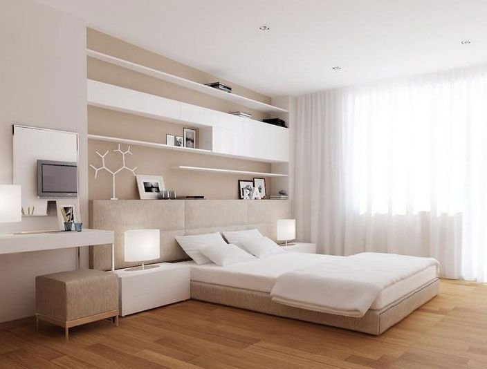 Amusing Rustic Bedroom Design Featuring Cool Bed With Rectangle White Foam Mattres And White Gloss Finish Floating Shelf Plus Cabinet Also Natural Oak Hardwood Laminate Flooring As Well As Pine Floors Also Hardwood Flooring Options of Engaging Cheap Rustic Wood Flooring Ideas from Furniture Ideas