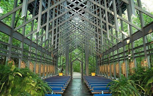 Alaa Salah | Senior Architect | Travel Inspiration: The Thorncrown Chapel in Eureka Springs, Arkansas is considered one of the crowning examples of organic architecture that promotes a harmony between the natural world and human habitation. Architect E. Fay Jones employed the use of symmetrical steel and glass to create a weightless, almost translucent structure that offers sweeping views in all directions of the surrounding Ozark habitat. #symmetry #auranarratives #takeover #design…