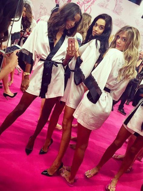 Jas Jasmine Tookes, Shanina Shaik and Bregje Heinnen backstage for the Victoria's Secret Fashion Show 2014 London VSFS VS VSfashionshow