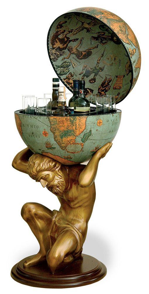 "Atlas Statue Floor Globe Bar - Italian 20"" Diameter Replica, Laguna"