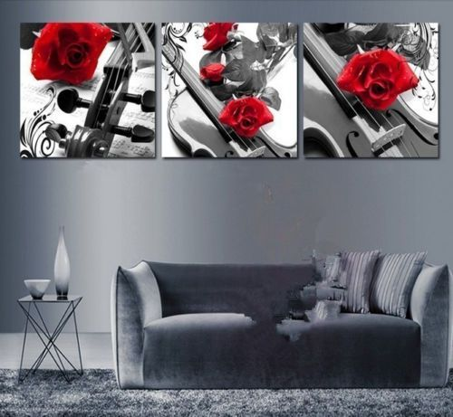 Handmade-3-Piece-Black-White-Red-Wall-Art-Oil-Paintings-On-Canvas-No-Frame