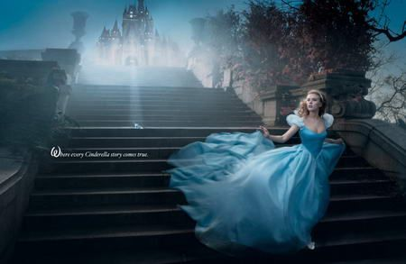 """Annie Leibovitz pic:  Scarlett Johansson is Cinderella in the picture named """"Where every Cinderella story comes true"""" and, like every Cinderella, she's wearing nothing but the best – a unique Harry Winston tiara in platinum and over 62k diamonds ($325,000) and a Nicoletta Santoro custom made fairytale inspired gown."""