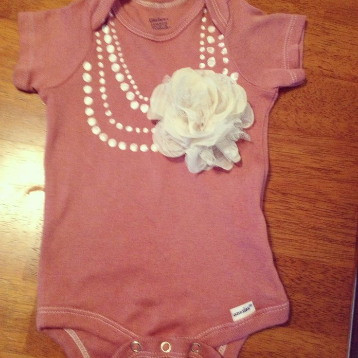 painted pearl necklace Onesie idea...could try w pencil eraser and bleach?