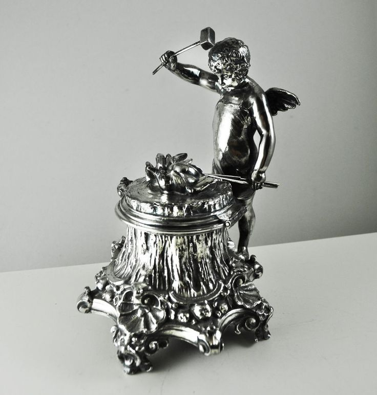 WMF ART NOUVEAU Figural Inkwell Antique Silver Plated Victorian Deco Vintage