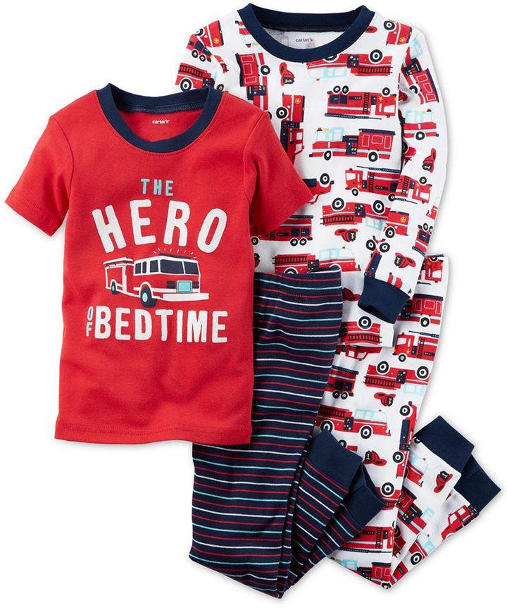 Carter's 4-Pc. Firetruck Hero Cotton Pajama Set, Little Boys (4-7) & Big Boys (8-20)