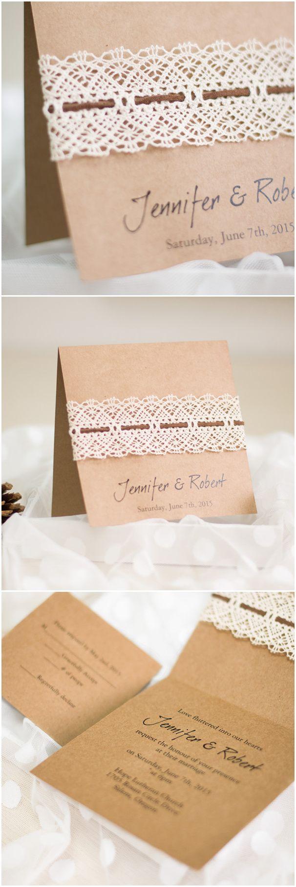 Affordable DIY Vintage Rustic Lace Folded Wedding Invitations EWLS044 Vinta