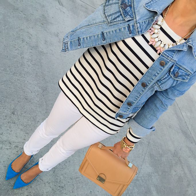 Stripes, denim jacket and blue pumps