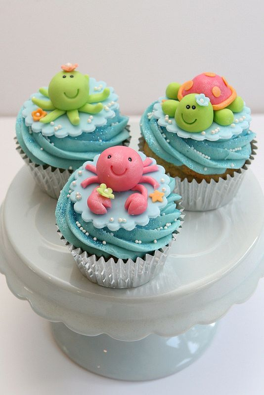 Sea Creature Cupcakes. Crab, octopus and turtle. These are absolutely adorable. Ideal for an under the sea themed baby shower or birthday party.
