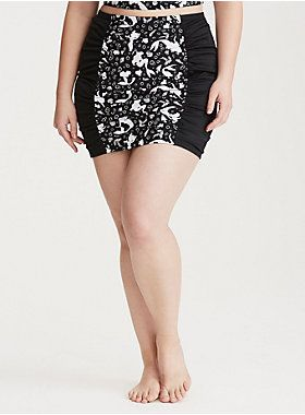 "<p>Dry land is so overrated if you've got this Little Mermaid swim bottom! The black sheeny-stretchy ruched skirt features black and white character print front and back panels. A slimming high waist cut (hello tummy smoothing) provides coverage for problem areas. Both the brief and skirt are lined with power mesh to contour your shape.</p>  <p><b>Search SKU 10471996 for matching bikini top</b></p>  <ul> 	<li style=""list-style-position: inside !important; list-style-type: disc…"