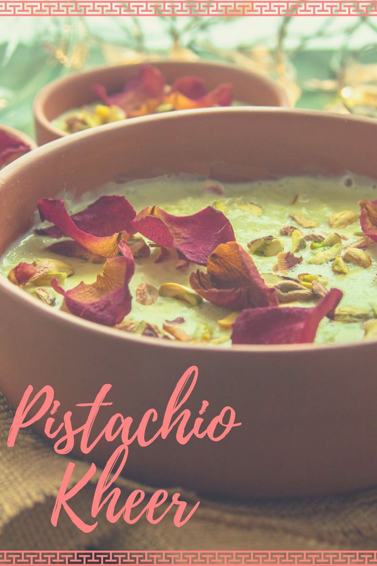 Brighten and sweeten up this Diwali with a rich, creamy and delicious - Pistachio Kheer.     1/4 Cup Short Grain Rice  1/4 Cup + 1/4 Cup Pistachio  4 Cups + 3 Tbsp Full Fat Milk 1/4 Cup Sugar  4-5 Strands Saffron  Pinch of Cardamom Powder