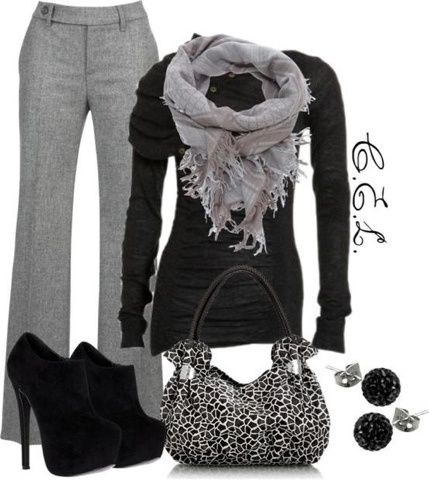 Office Style (Her): Try black and greys this winter! Not the shoes! I would hurt myself!