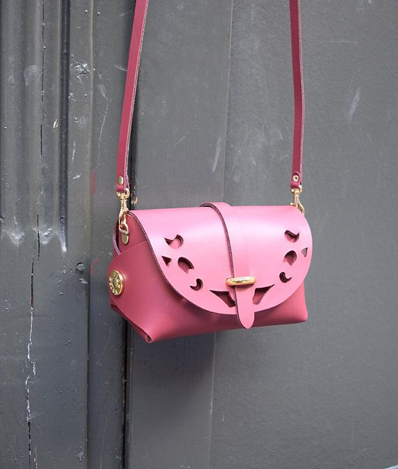Bordeaux Leather Cutout Barrel BagGift for Her Handmade