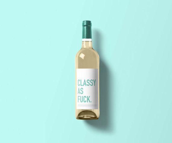 Classy as Fck Wine Label  Funny Wine Label  by ClassyCardsCreative