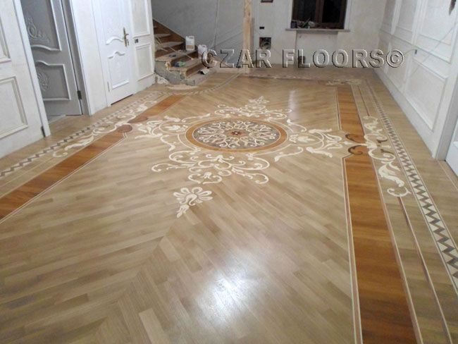 Picture of custom design hallway id455 example of custom for Wood floor medallion designs