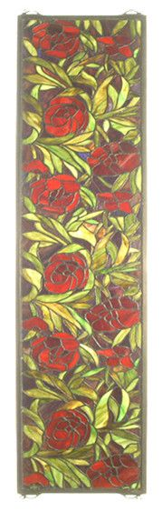 Victorian Tiffany Peony Stained Glass Window | Wayfair