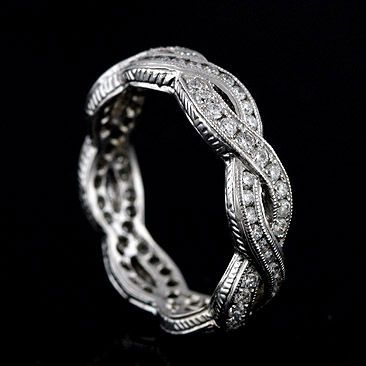 Vintage Style 18K White Gold Infinity Diamond Eternity Band Ring - Order 18K Gold Eternity Wedding Band | Diamond Pave And Channel Eternity Band |