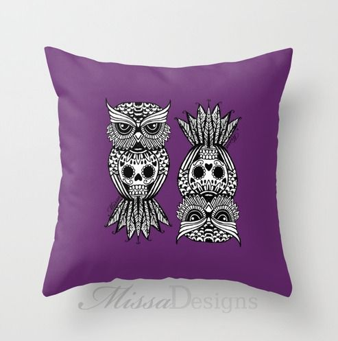 'Sugar Skull Hootle' cushion cover design Colourway: Purple with black owl. Design by Missa Designs. Copyright 2013