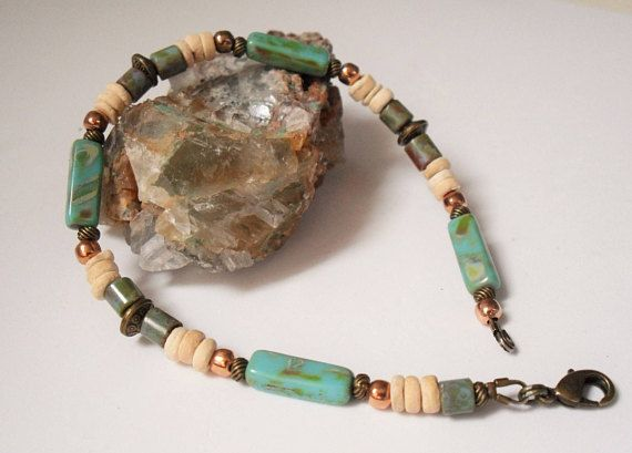 Nature Beaded Anklet Bracelet 6.5 10.5 Turquoise