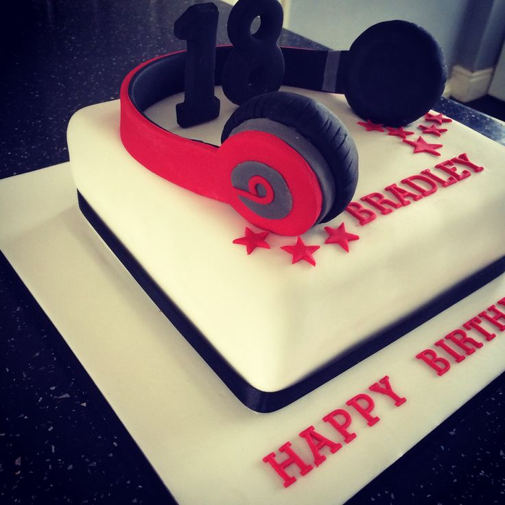 "8"" square chocolate cake with Dr Dre Beats headphones. Boy's 18th birthday cake"