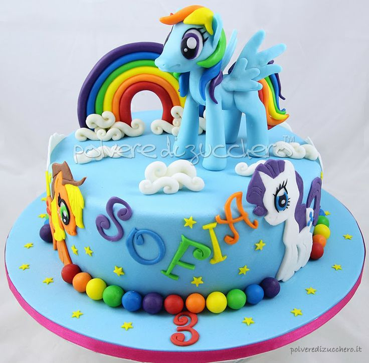Torta My Little Pony: Rainbow Dash, Rarity, Applejack - Polvere di Zucchero