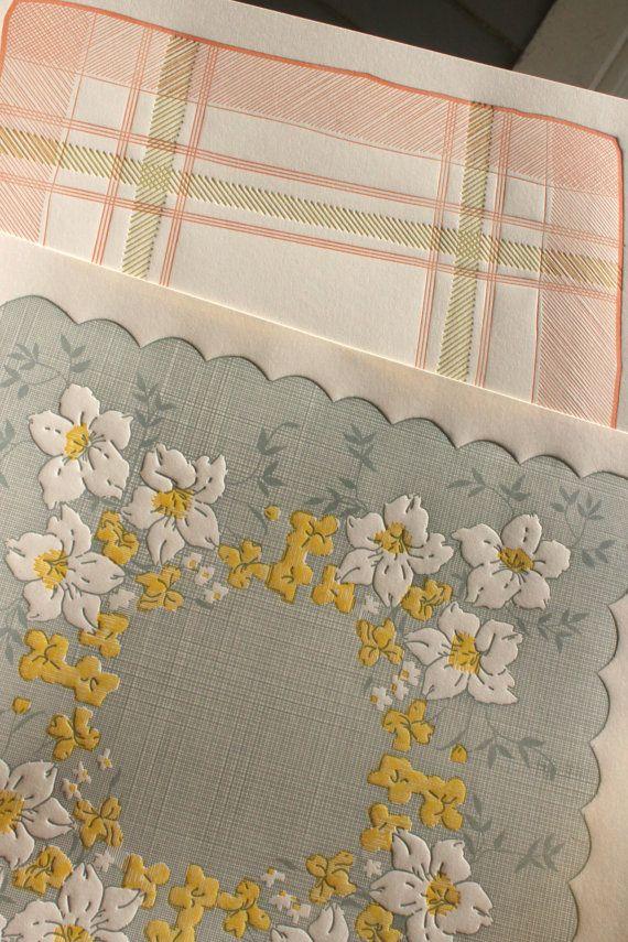 Vintage handkerchief letterpress calendar.