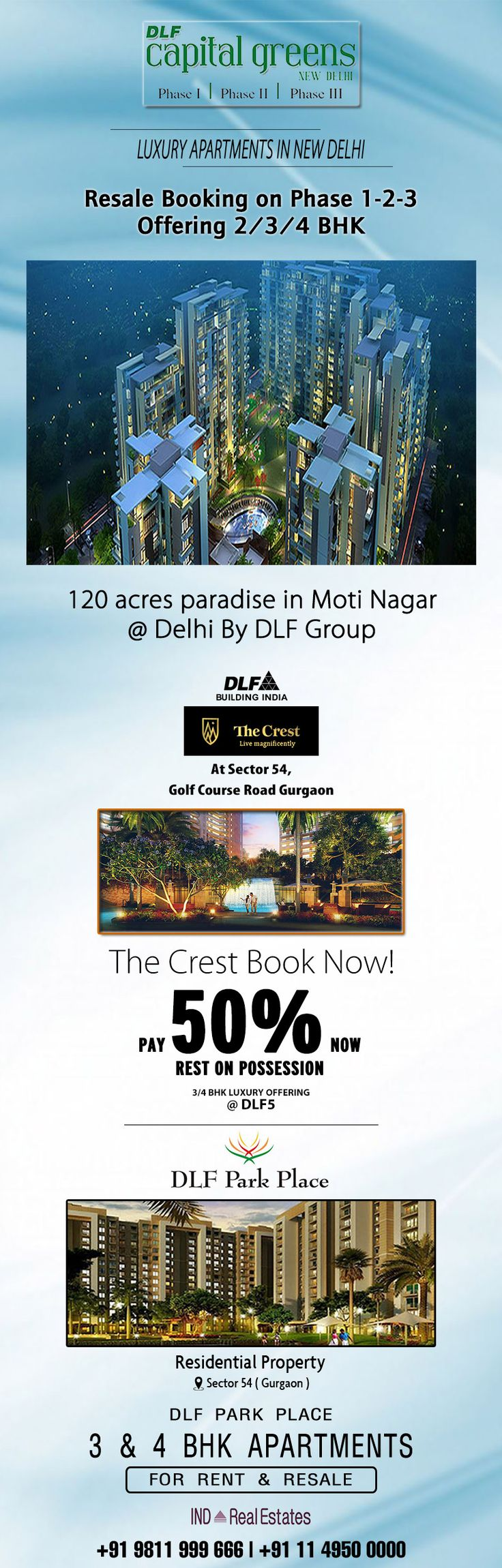 Dlf ltd the opulent builder of indian real estate gives out of the box packages some of them are dlf capital greens moti nagar dlf park place sector 54