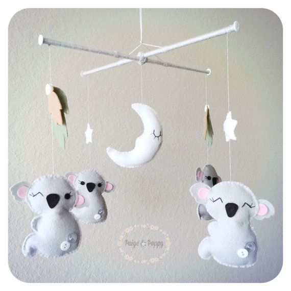 Baby Mobile  Neutral Koala Mobile  Jungle Baby by PaigeAndPoppy