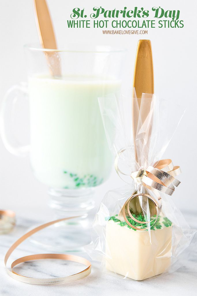 St. Patrick's Day White Hot Chocolate Sticks create a decadent drink with a pinch of green