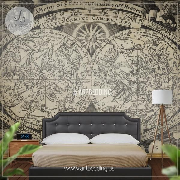 Vintage map wall mural custom printed for you. This photo mural features bright and vivid colors that will refresh every room. Wall décor art room decoration