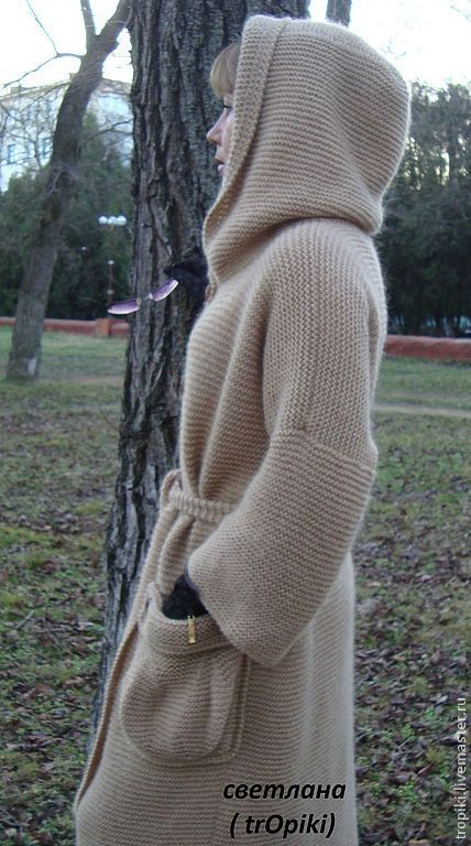 """Пальто вязаное """" Любимое"""" с капюшоном. - бежевый,пальто,пальто вязаное"""