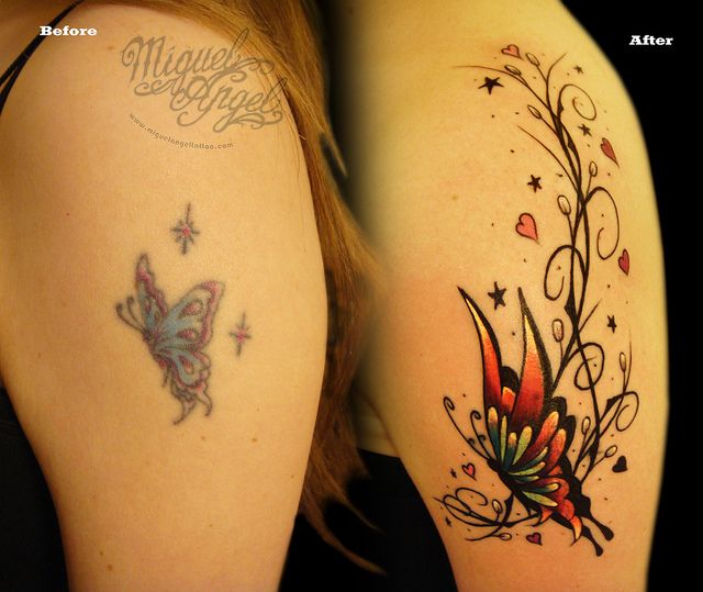 Butterfly and pattern Cover up tattoo by Miguel Angel tattoo, via Flickr