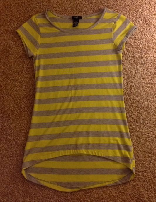 Juniors Rue 21 Grey and Yellow Stripped Shirt Size Small #rue21 #BasicTee