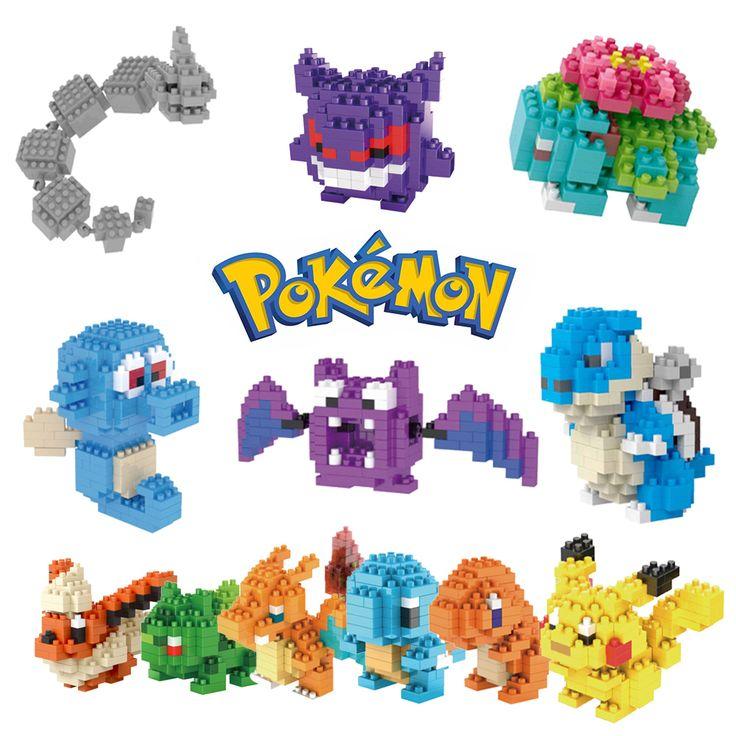 21 Pergi Mainan Aksi Angka Model Pikachu Bulbasaur Pokemon Squirtle Pokemon Eevee Anak hadiah 9 + Anime Blok Bangunan Mewtwochild