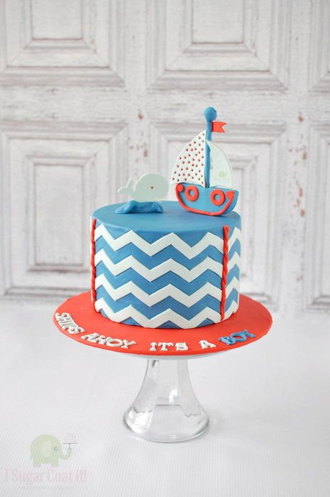 Nautical Chevron Cake & Cookies
