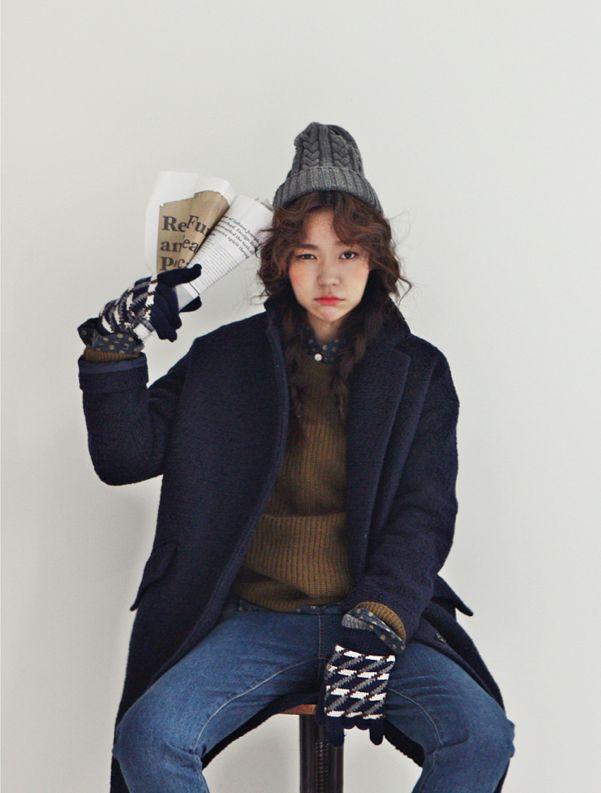 Cranky Korean Tomboy Style Love The Beanie And Blue Coat Korean Style Pinterest Coats