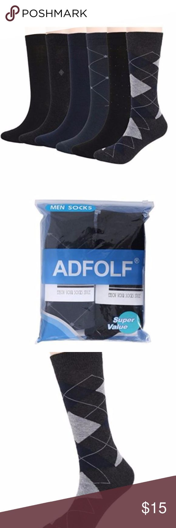 Argyle Patterned Long Crew Dress Socks Pack of 6 Onesize fits most. Men Casual Business Dress Socks 6 Pack- 70% Polyester, 15 % cotton, 5 % Spandex. Lightweight & Breathable.  SUPER COMFORT: Each of the men socks are made of high-quality fabric that will ensure lasting comfort.The super soft feature of this men dress socks give your foot a good comfort. And the patterned dress socks breathe well, wicking away sweat. The long dress socks slide right on and not too far up the calf and these…