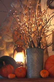 love the lights on the branches, rustic tin. May be good for outside tables at club?