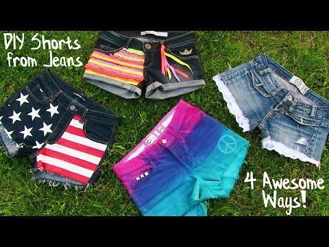 DIY+Clothes!+4+DIY+Shorts+Projects+from+Jeans!+Easy