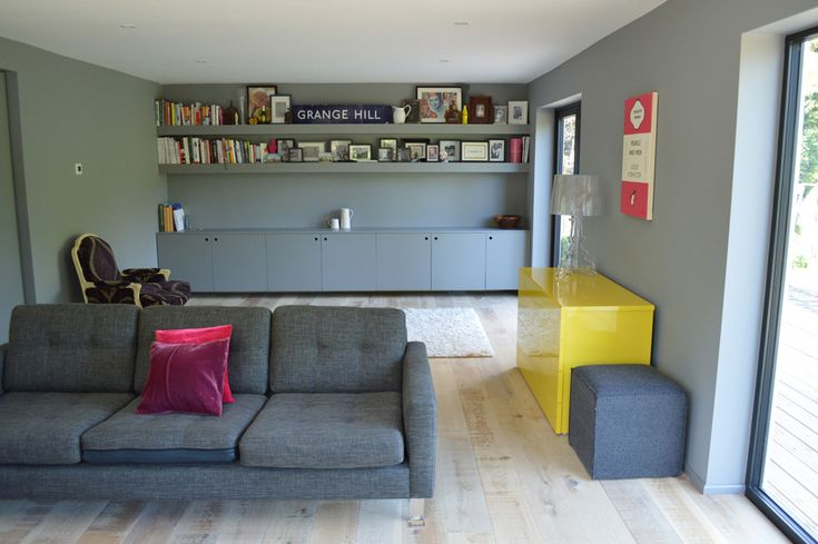 Love The Floating Cupboards Under The Shelves Looks Great In A Unifying Colour Yellow Living Room Room Living Room