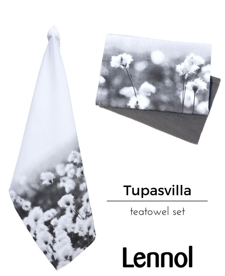 Tupasvilla is Finnish for Hare's-tail cottongrass. Form and function come together in this set; practical kitchen towels with a stylish designer look and quality-feel. One towel features a flower photograph, taken at Seitseminen Nature park, by Finnish designer Seija Ranttila, the other is a plain grey waffle weave, both tea towels are 100% cotton.