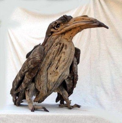 tony fredricksson's driftwood sculptures  Wonderful sculpture of a crow! Thanks Jane!