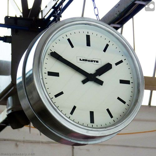 french doublesided industrial clock salvaged from a normandy dairy 1950s