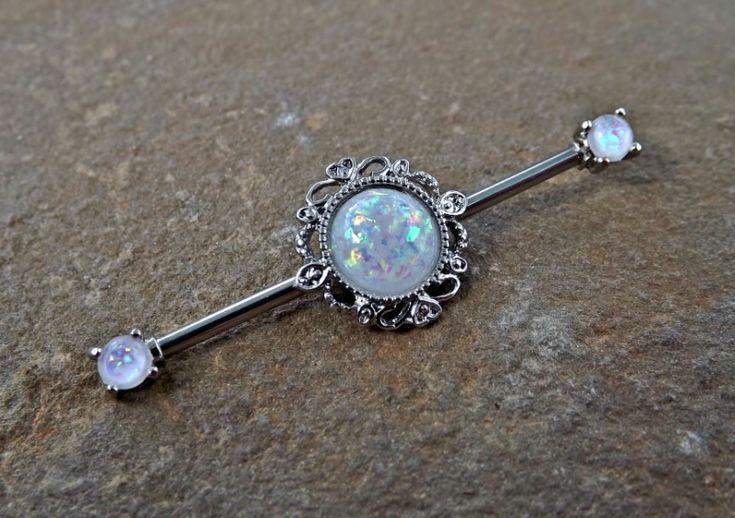 White Glitter Opal Industrial Barbell Scaffold Piercing 14ga Body Jewelry Piercing Jewelry